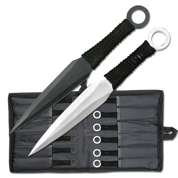 Picture of Black and Silver Kunai Throwing Knife Set