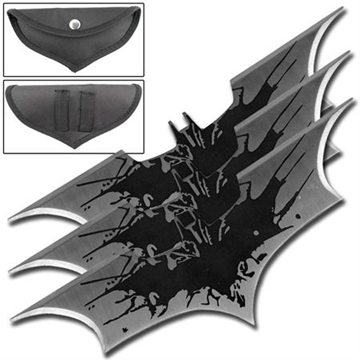Picture of Black Splash Bat Throwing Star Set of 3
