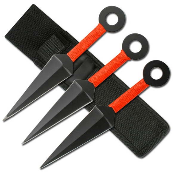 Picture of Red Kunai Ninja Throwing Knives