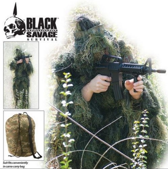 Picture of Black Savage 5 Piece Ghillie Suit