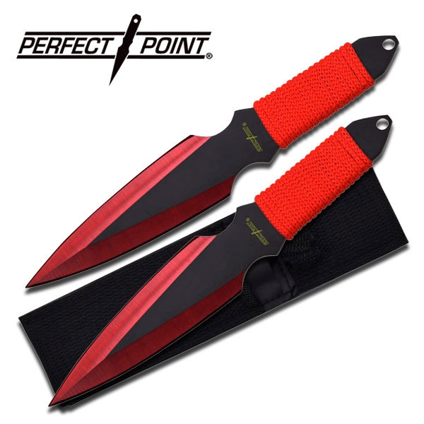 Perfect Point Two Piece Throwing Knife Set Red For Sale