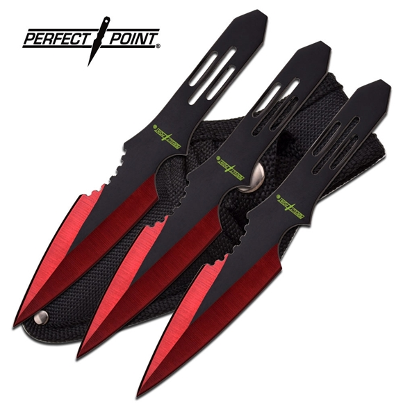 Picture of Perfect Point Typhoon Red Throwing Knife Set