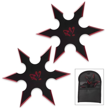 Picture of On Target Twin Six-Pointed Throwing Star Set with Nylon Pouch | Kanji Accents | Metallic Red Edges