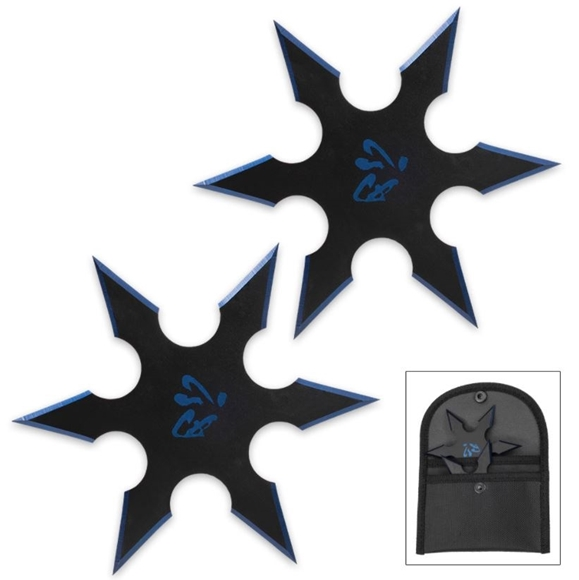 Picture of On Target Twin Six-Pointed Throwing Star Set with Nylon Pouch | Kanji Accents | Metallic Blue Edges