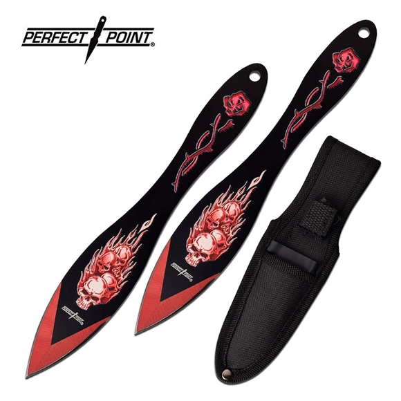 Picture of Perfect Point Two Piece Flaming Skulls Throwing Knife Set